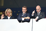 15/07/2018, Luzhniki stadium, Moscow, Russia; FIFA World Cup Russia 2018, Final Football Match France versus Croatia, France is the new World Champion. France won the World Cup for the second time 4-2 against Croatia. French President Emmanuel Macron and his wife Brigitte Macron, Gianni Infantino, FIFA President.