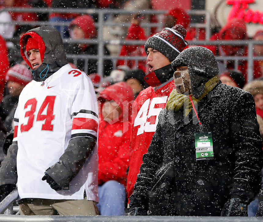 Ohio State Buckeyes fans cheer while snow falls during the third quarter of the the Ohio State Buckeyes and Indiana Hoosiers college football game at Ohio Stadium in Columbus, Ohio on November 23, 2013.  (Dispatch photo by Kyle Robertson)