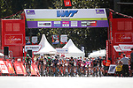 The peloton in action during the Madrid Challenge by La Vuelta 2017 was ridden over 87km, with 15 laps on a 5.8km route around the iconic Plaza Cibeles, Madrid, Spain. 10th September 2017.<br /> Picture: Unipublic/&copy;photogomezsport | Cyclefile<br /> <br /> <br /> All photos usage must carry mandatory copyright credit (&copy; Cyclefile | Unipublic/&copy;photogomezsport)