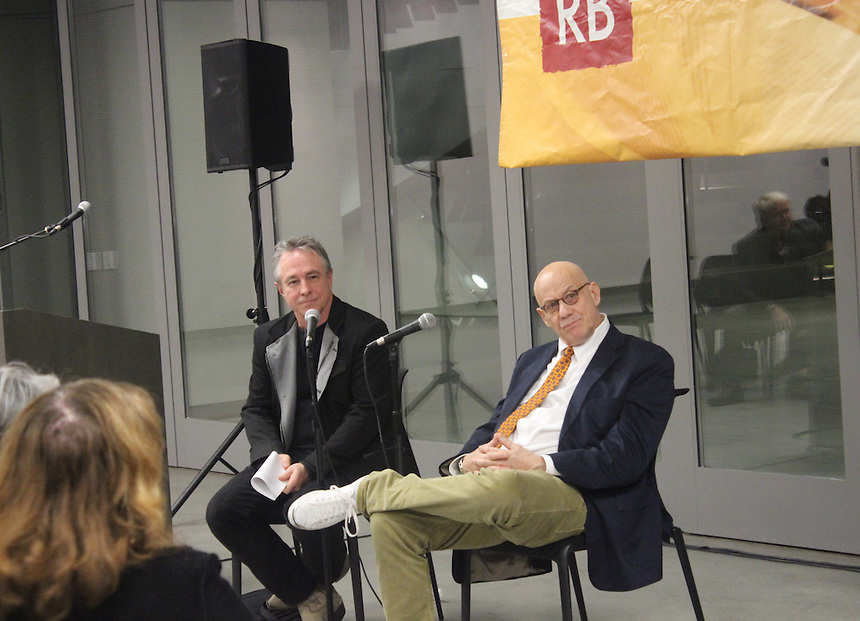 Tom Lutz, editor-in-cheif of LA Review of Books, and author James Ellroy listen to an audience member ask a question during a conversation about Ellroy's new novel, Perfidia at Emerson Los Angeles on Saturday, December 6, 2014.