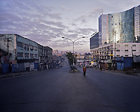 A man walks up a street of Merkato, the business heart of Ethiopia's capital Addis Ababa on Monday November 9, 2009.