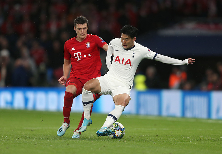 Tottenham Hotspur's Son Heung-Min and Bayern Munich's Benjamin Pavard<br /> <br /> Photographer Rob Newell/CameraSport<br /> <br /> UEFA Champions League Group B  - Tottenham Hotspur v Bayern Munich - Tuesday 1st October 2019 - White Hart Lane - London<br />  <br /> World Copyright © 2018 CameraSport. All rights reserved. 43 Linden Ave. Countesthorpe. Leicester. England. LE8 5PG - Tel: +44 (0) 116 277 4147 - admin@camerasport.com - www.camerasport.com