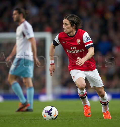 15.04.2014.  London, England. Tomas Rosicky of Arsenal during the Barclays Premier League match between Arsenal and West Ham from the Emirates Stadium.
