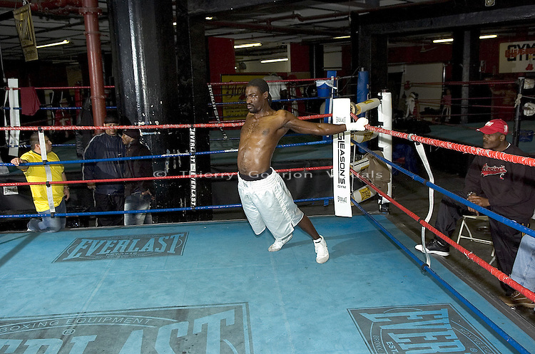 WBC Cruiserweight Champion Wayne Braithwaite stretches before shadow boxing at Gleason's Gym in Brooklyn, New York before his April 2nd Title Fight against WBA Champion Jean-Marc Mormeck in Worcester MA, on Thursday 24, 2005.