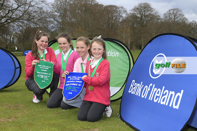 Ballysisteen Golf Club members Keelin O'Keeffe, Lauren Kelly, Caitlin Shipman and Chloe Ryan national winners of the national finals of the Dubai Duty Free Irish Open Skills Challenge supported by Bank of Ireland in conjunction with CGI at the GUI National Golf Academy, Carton House, Maynooth, Co Kildare. 24/04/2016.<br /> Picture: Golffile | Fran Caffrey<br /> <br /> <br /> All photo usage must carry mandatory copyright credit (&copy; Golffile | Fran Caffrey)