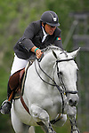 Portugal's jockey Luis Sabino with the horse Imperio Egipcio Milton during 102 International Show Jumping Horse Riding, Gran Prix of Madrid-Volvo Throphy.May, 19, 2012. (ALTERPHOTOS/Acero)