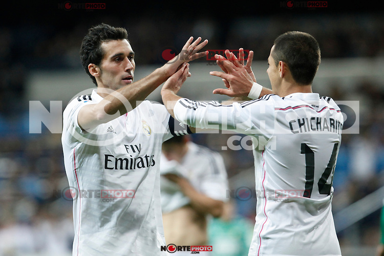 Real Madrid´s Chicharito celebrates a goal with Arbeloa during Spanish King Cup match between Real Madrid and Cornella at Santiago Bernabeu stadium in Madrid, Spain.December 2, 2014. (NortePhoto/ALTERPHOTOS/Victor Blanco)