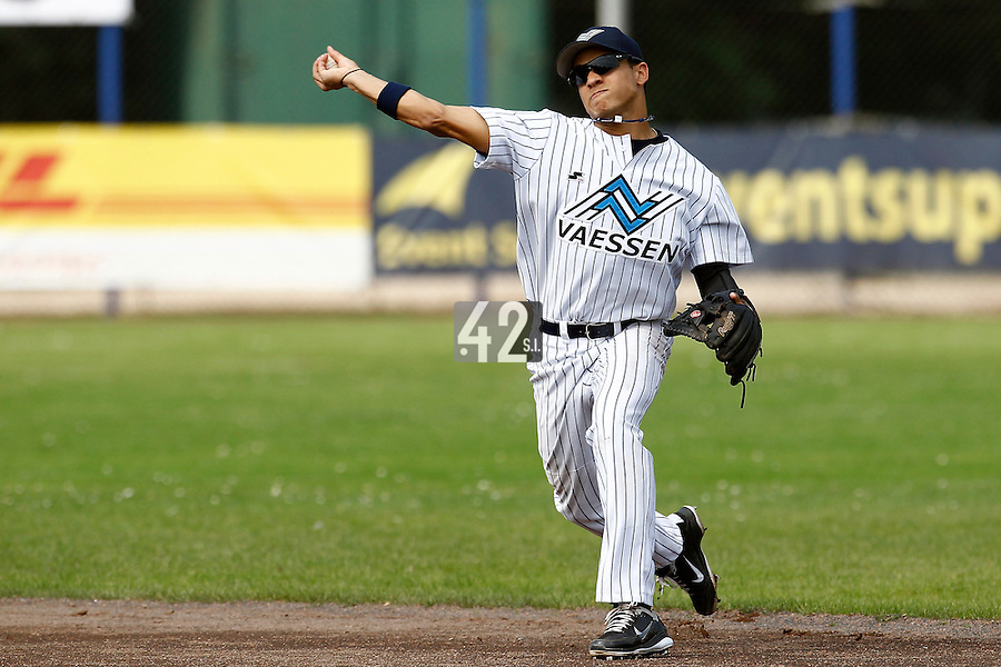 03 September 2011: Zerzinho Croes of Vaessen Pioniers throws to first base during game 1 of the 2011 Holland Series won 5-4 in inning number 14 by L&D Amsterdam Pirates over Vaessen Pioniers, in Hoofddorp, Netherlands.