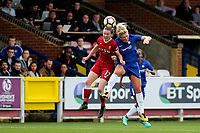 Niamh Charles of Liverpool Ladies and Chelsea's Millie Bright in an aerial challenge during Chelsea Ladies vs Liverpool Ladies, FA Women's Super League FA WSL1 Football at Kingsmeadow on 7th October 2017