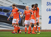 Blackpool's Joe Dodoo celebrates scoring the opening goal with team-mate John O'Sullivan<br /> <br /> Photographer Kevin Barnes/CameraSport<br /> <br /> Emirates FA Cup First Round - Exeter City v Blackpool - Saturday 10th November 2018 - St James Park - Exeter<br />  <br /> World Copyright © 2018 CameraSport. All rights reserved. 43 Linden Ave. Countesthorpe. Leicester. England. LE8 5PG - Tel: +44 (0) 116 277 4147 - admin@camerasport.com - www.camerasport.com