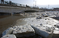 Ice pile up make the Chateaugay river,near Montreal, overflow. March7 2004<br />