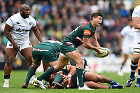 Ben Youngs of Leicester Tigers passes the ball. Aviva Premiership match, between Leicester Tigers and Bath Rugby on September 3, 2017 at Welford Road in Leicester, England. Photo by: Patrick Khachfe / Onside Images