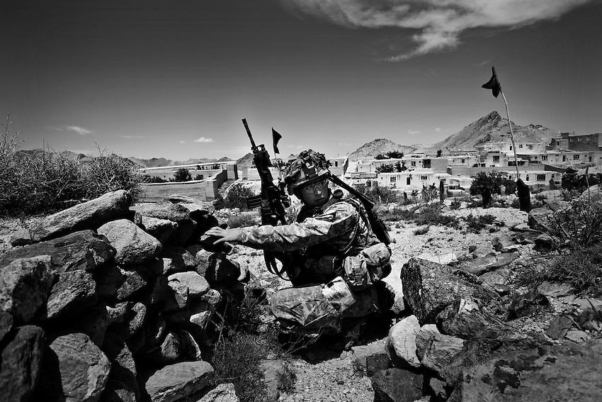 Sgt. Brandon Camacho, on patrol in Logar province, Afghanistan, Thursday, May 2009.