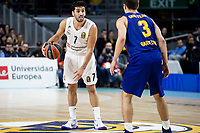 Facundo Campazzo of Real Madrid and Kevin Pangos of FC Barcelona Lassa during Turkish Airlines Euroleague match between Real Madrid and FC Barcelona Lassa at Wizink Center in Madrid, Spain. December 13, 2018. (ALTERPHOTOS/Borja B.Hojas) /NortePhoto.com