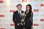 Wales Sport Awards 2013<br /> BBC Wales Sports Personality of the Year 2013 Leigh Halfpenny with Jess Tumelty.<br /> 09.11.13<br /> ©Steve Pope-SPORTINGWALES