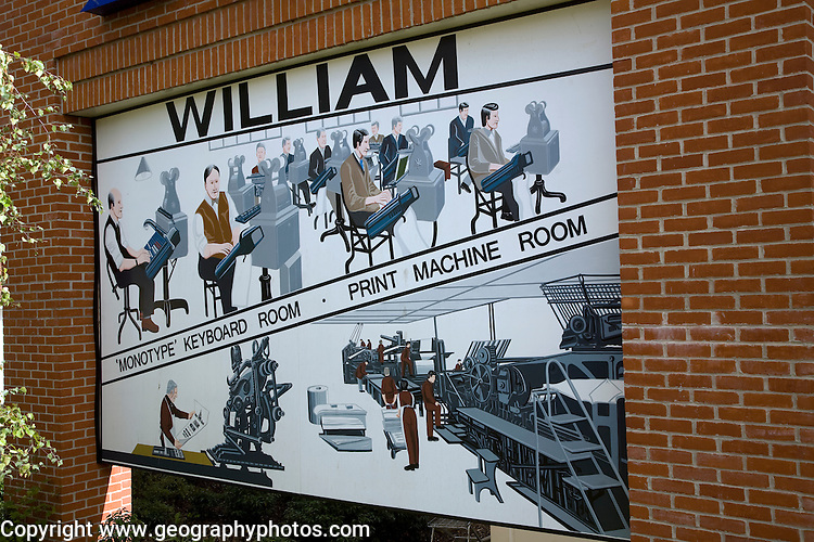 Mural William Clowes printers, Beccles, Suffolk, England
