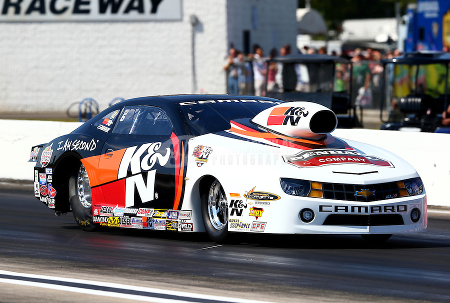 Aug. 17, 2013; Brainerd, MN, USA: NHRA pro stock driver Mike Edwards during qualifying for the Lucas Oil Nationals at Brainerd International Raceway. Mandatory Credit: Mark J. Rebilas-