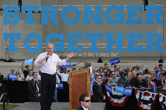 www.acepixs.com<br /> <br /> October 24 2016, West Palm Beach<br /> <br /> Democratic Vice-Presidential candidate Tim Kaine campaigns in the Meyer Amphitheater on October 24 2016 in West Palm Beach, FL.<br /> <br /> <br /> <br /> <br /> By Line: Solar/ACE Pictures<br /> <br /> ACE Pictures Inc<br /> Tel: 6467670430<br /> Email: info@acepixs.com<br /> www.acepixs.com