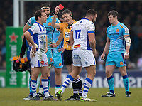 Todays Referee, George Clancy shows the red card to Castres Tudor Stroe<br /> <br /> Photographer Bob Bradford/CameraSport<br /> <br /> European Rugby Heineken Champions Cup Pool 2 - Exeter Chiefs v Castres - Sunday 13th January 2019 - Sandy Park - Exeter<br /> <br /> World Copyright © 2019 CameraSport. All rights reserved. 43 Linden Ave. Countesthorpe. Leicester. England. LE8 5PG - Tel: +44 (0) 116 277 4147 - admin@camerasport.com - www.camerasport.com