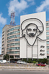 Havana, Cuba; erected in 2009, the mural of Camilo Cienfuegos sits on the facade of the Ministry of Communications building, the words Vas Bien, Fidel translates to You're Doing Fine, Fidel, which was Cienfuegos famous response to Fidel's question Am I Doing All Right, Camilo? at a rally in 1959