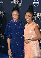 Tessa Thompson &amp; Yara Shahidi at the premiere for &quot;A Wrinkle in Time&quot; at the El Capitan Theatre, Los Angeles, USA 26 Feb. 2018<br /> Picture: Paul Smith/Featureflash/SilverHub 0208 004 5359 sales@silverhubmedia.com