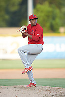 Johnson City Cardinals relief pitcher Junior Gonzalez (36) in action against the Burlington Royals at Burlington Athletic Stadium on July 15, 2018 in Burlington, North Carolina. The Cardinals defeated the Royals 7-6.  (Brian Westerholt/Four Seam Images)