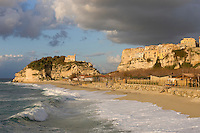 Italy, Calabria, Tropea: beach resort, L'Isola (island) with sanctuary Santa Maria dell'Isola
