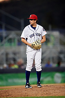 Binghamton Rumble Ponies relief pitcher Daniel Zamora (30) gets ready to deliver a pitch during a game against the Erie SeaWolves on May 14, 2018 at NYSEG Stadium in Binghamton, New York.  Binghamton defeated Erie 6-5.  (Mike Janes/Four Seam Images)