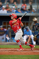 Palm Beach Cardinals center fielder Chase Pinder (5) follows through on a swing during a game against the Charlotte Stone Crabs on April 21, 2018 at Charlotte Sports Park in Port Charlotte, Florida.  Charlotte defeated Palm Beach 5-2.  (Mike Janes/Four Seam Images)
