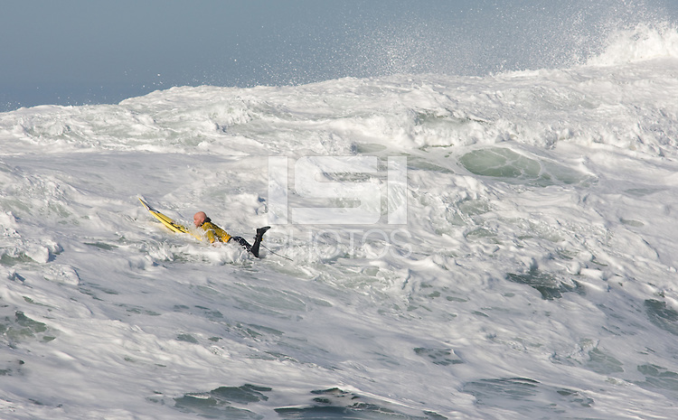 Tyler Smith surfs during the 2008 Mavericks Surf Contest in Half Moon Bay, Calif., Saturday, January 12, 2008.