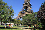 Picnic under the Tour Eiffel or Eiffel Tower in Paris, France.