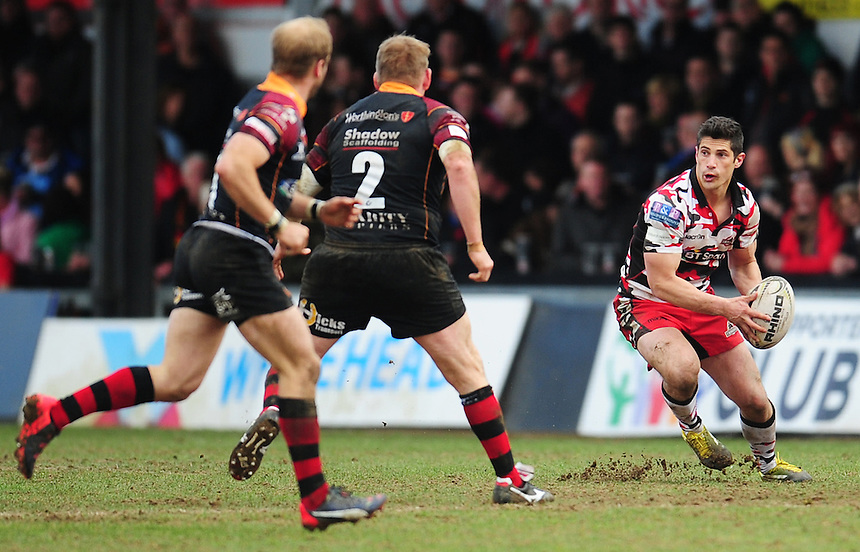 Edinburgh's Phil Burleigh in action during todays match<br /> <br /> Photographer Kevin Barnes/CameraSport<br /> <br /> Rugby Union - Guinness PRO12 Round 18 - Newport Gwent Dragons v Edinburgh Rugby - Sunday 27th March 2016 - Rodney Parade - Newport<br /> <br /> &copy; CameraSport - 43 Linden Ave. Countesthorpe. Leicester. England. LE8 5PG - Tel: +44 (0) 116 277 4147 - admin@camerasport.com - www.camerasport.com