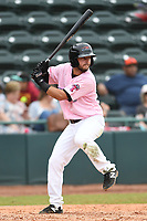 Hickory Crawdads Second baseman Tyler Depreta-Johnson (2) bats during the game with the Charleston Riverdogs at L.P. Frans Stadium on May 12, 2019 in Hickory, North Carolina.  The Riverdogs defeated the Crawdads 13-5. (Tracy Proffitt/Four Seam Images)