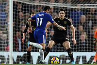 /Harry Maguire of Leicester city and Pedro of Chelsea during Chelsea vs Leicester City, Premier League Football at Stamford Bridge on 13th January 2018