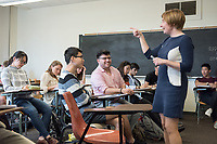 Economics Professor Kirsten Wandschneider teaches her class, Principles of Economics (Econ 101) in Fowler Hall on March 2, 2017.<br /> (Photo by Marc Campos, Occidental College Photographer)