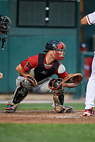 Erie SeaWolves catcher Jake Rogers (7) waits to receive a pitch during a game against the Harrisburg Senators on August 29, 2018 at FNB Field in Harrisburg, Pennsylvania.  Harrisburg defeated Erie 5-4.  (Mike Janes/Four Seam Images)