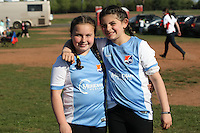 Piscataway, NJ, April 24, 2016.  Two young fans show off their Sky Blue gear prior to the game.  The Washington Spirit defeated Sky Blue FC 2-1 during a National Women's Soccer League (NWSL) match at Yurcak Field.