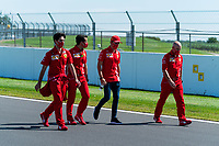 30th July 2020, Silverstone, Northampton, UK;  FIA Formula One World Championship 2020, Grand Prix of Great Britain, Charles Leclerc MCO, Scuderia Ferrari Mission Winnow walks the track for inspection