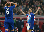 Jamie Vardy of Leicester City reacts to being sent off during the English Premier League match at the Bet 365 Stadium, Stoke on Trent. Picture date: December 17th, 2016. Pic Simon Bellis/Sportimage