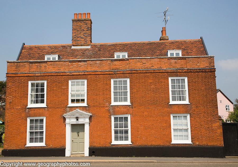 Red brick Georgian house on Quay Street, Woodbridge, Suffolk, England