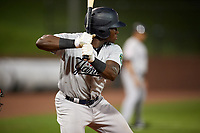 Pulaski Yankees left fielder Jordan Scott (66) at bat during a game against the Greeneville Reds on July 27, 2018 at Pioneer Park in Tusculum, Tennessee.  Greeneville defeated Pulaski 3-2.  (Mike Janes/Four Seam Images)