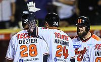 Home run de Hunter William Dozier  de Naranjeros en la primera entrada baja, durante la apertura de la temporada de beisbol de la Liga Mexicana del Pacifico 2017 2018 con el partido entre Naranjeros vs Yaquis. 11 octubre2017 . <br /> (Foto: Luis Gutierrez /NortePhoto.com)