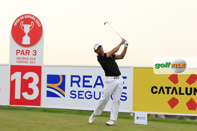 Pablo Larrazabal (ESP) on the 13th tee during Round 1 of the Open de Espana  in Club de Golf el Prat, Barcelona on Thursday 14th May 2015.<br /> Picture:  Thos Caffrey / www.golffile.ie