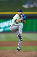 Wilmington Blue Rocks starting pitcher Marcelo Martinez (19) in action against the Winston-Salem Dash at BB&T Ballpark on April 17, 2019 in Winston-Salem, North Carolina. The Blue Rocks defeated the Dash 2-1. (Brian Westerholt/Four Seam Images)