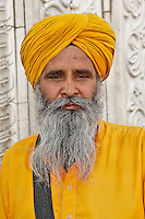 Man in traditional Sikh clothing, Delhi, India