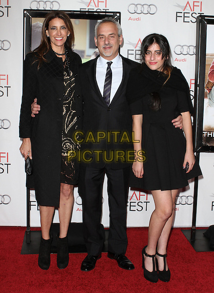 "CLAIRE RUDNICK & FAMILY.AFI Film Festival 2010 Screening Of ""The Company Men"" held at The Grauman's Chinese Theatre, Hollywood, CA, USA..November 10th, 2010.full length black coat jacket ankle boots suit dress.CAP/ADM/KB.©Kevan Brooks/AdMedia/Capital Pictures."