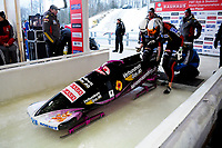 Sandra Kiriasis and Petra Lammert in the third heat of the World Bobsled Championship at Lake Placid, New York