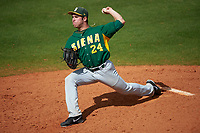 Siena Saints starting pitcher Chris Amorosi (24) delivers a pitch during a game against the UCF Knights on February 21, 2016 at Jay Bergman Field in Orlando, Florida.  UCF defeated Siena 11-2.  (Mike Janes/Four Seam Images)
