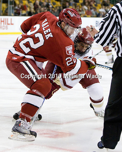 David Valek (Harvard - 22), Brian Gibbons (BC - 17) - The Boston College Eagles defeated the Harvard University Crimson 6-0 on Monday, February 1, 2010, in the first round of the 2010 Beanpot at the TD Garden in Boston, Massachusetts.