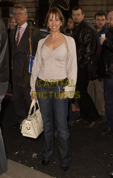 "ANDREA McCLEAN.Outside arrivals for ""Movin' Out"" Opening Night, .Apollo Victoria Theatre, London, England, .April 10th 2006..full length silver sparkly top cardigan white bag matching twinset.Ref: CAN.www.capitalpictures.com.sales@capitalpictures.com.©Can Nguyen/Capital Pictures"